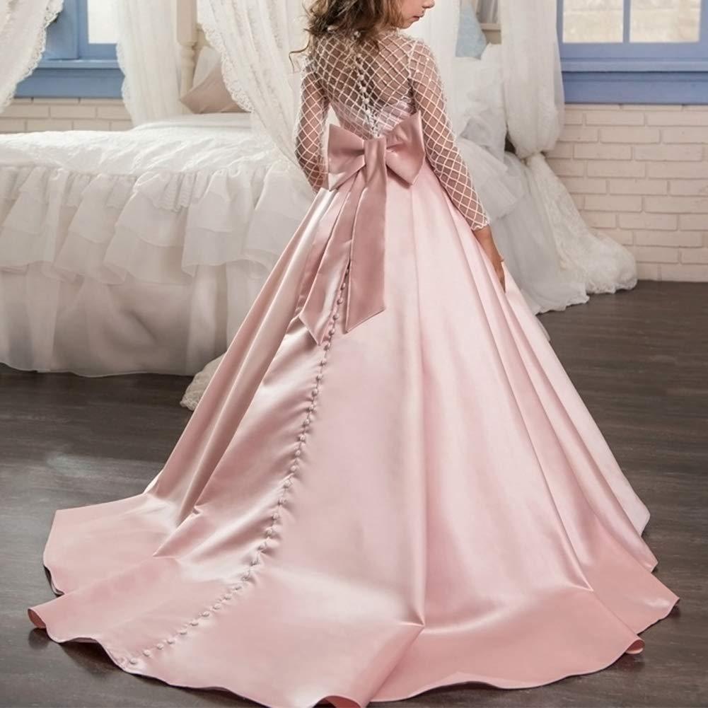IWEMEK Vestido de la Vendimia Primera Comunión Cordón Vestido de Niña de Flores de Boda Princesa Vestidos de Noche Dama De Honor Manga Larga Cumpleaños ...