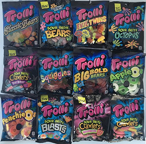 Trolli Gummi Bears (Trolli Gummy Candy Variety Bundle 12 Different Flavors (1 Of Each) Peg Bags Gummy Bears, Squiggles, Sour Brite Gummi, Apple, Peach and More!)