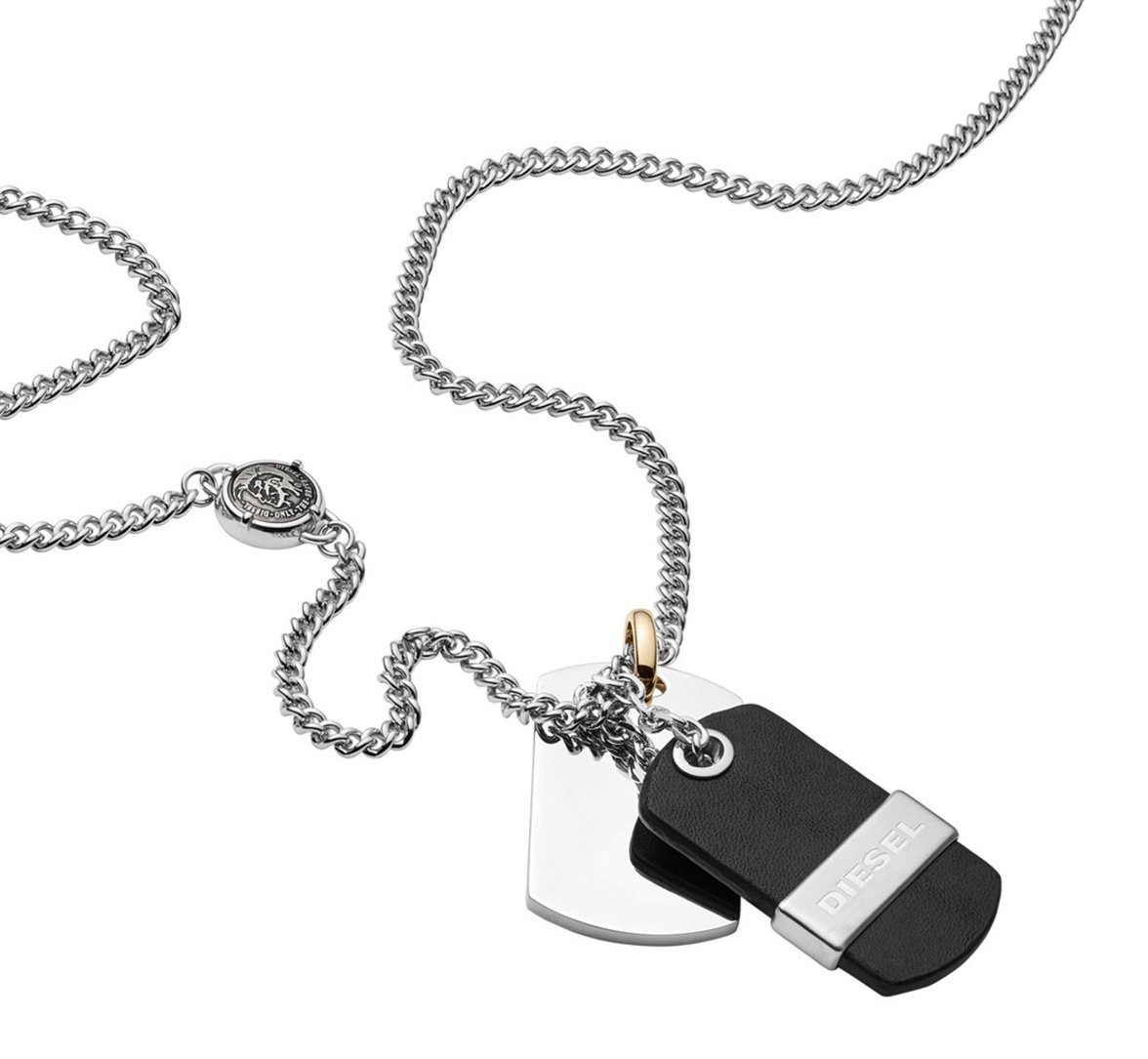 Diesel Men's Stainless Steel & Leather Double Dog Tag Necklace DX1084040 with Gift Box $95