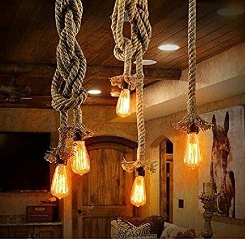 E27 Industrial 3 Heads Pendant Lamp Retro Vintage Hemp Rope Ceiling Light W2Q0