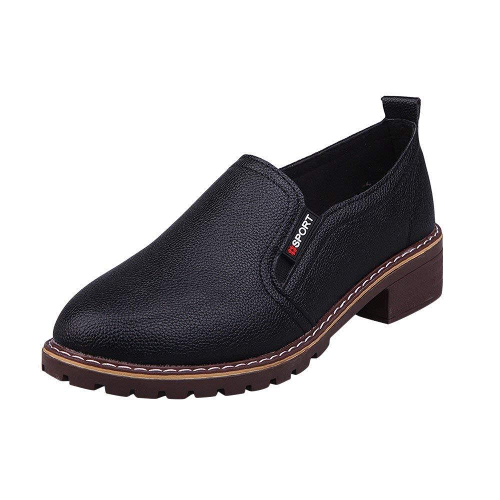 HhGold Stiefel Damen Schuhe Damenstiefel Mode Knöchel Oxford flach Oxford Knöchel Leder Freizeitschuhe Kurze Stiefel Mode Elegant Stiefel Dicke Stiefeletten (Farbe   Schwarz, Größe   36 EU) c51e5f