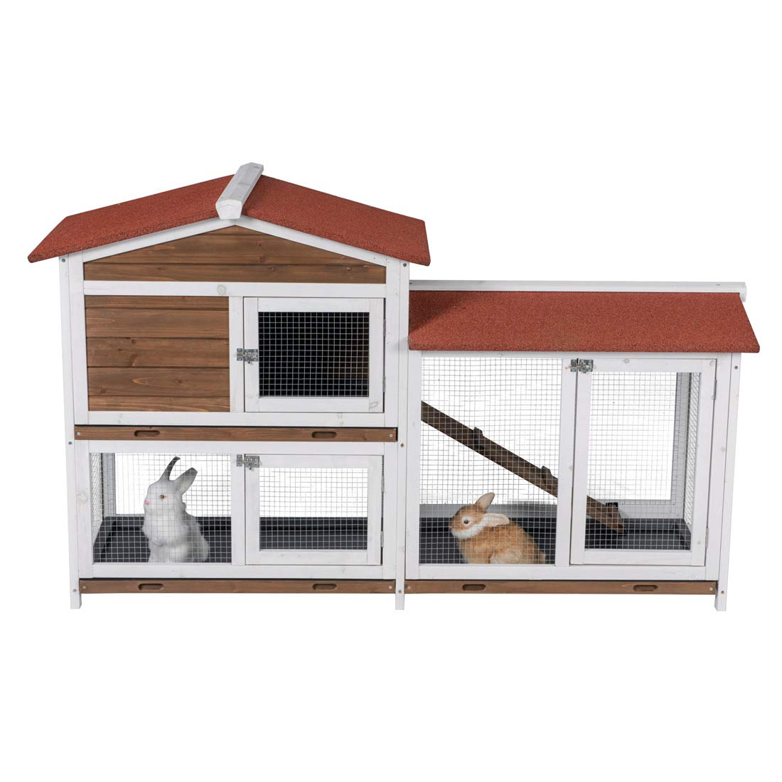 Good Life Two Floors Wooden Outdoor Indoor Roof Waterproof Bunny Hutch Rabbit Cage Guinea Pig Coop PET House for Small to Middle Animals with Stairs and 3 Cleaning Tray by GOOD LIFE USA (Image #4)