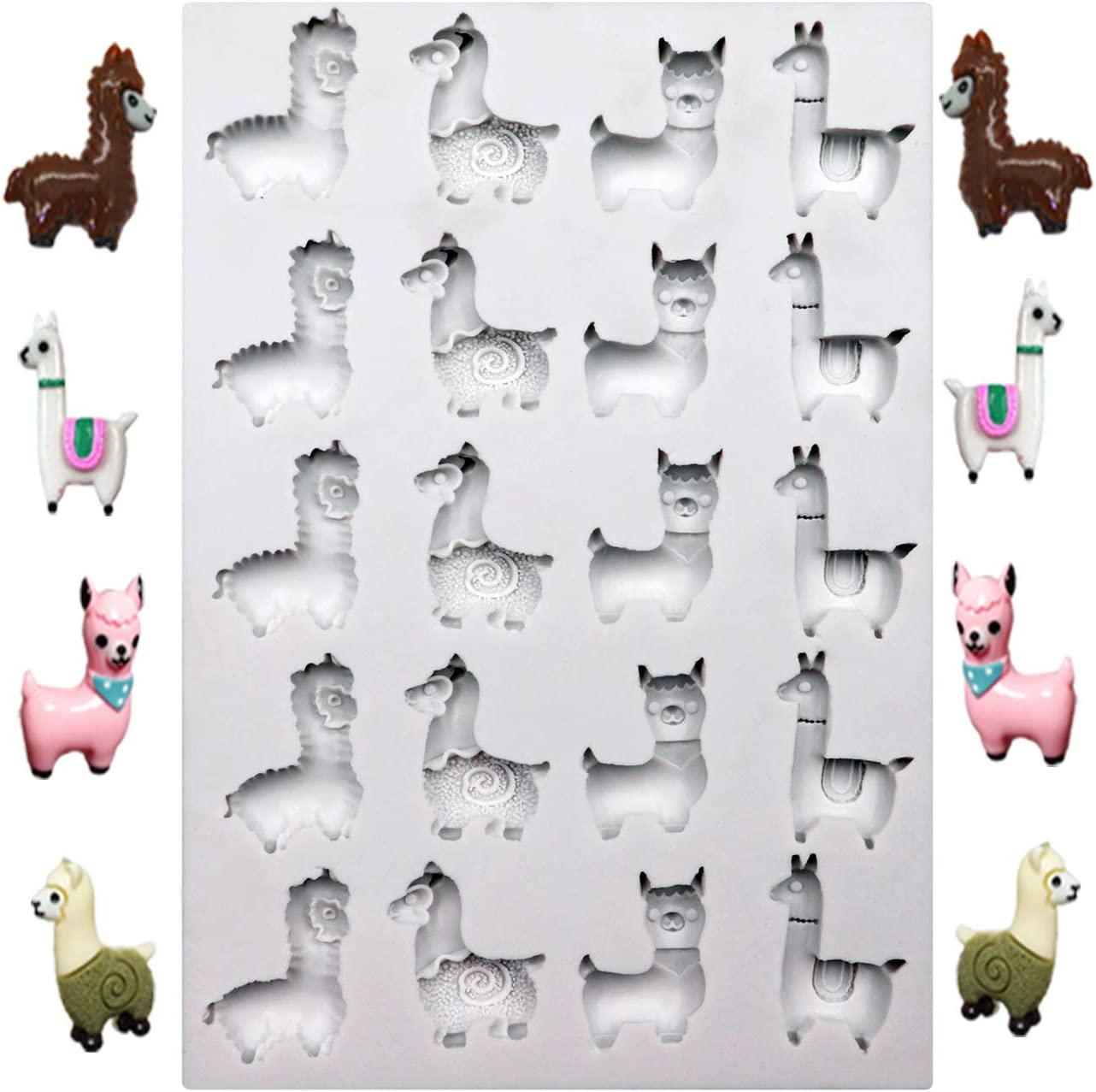 Polymer Clay Cake Pops Alpaca Fondant Mold Candy Molds for Chocolate Resin 20 Cavity Llama Silicone Molds