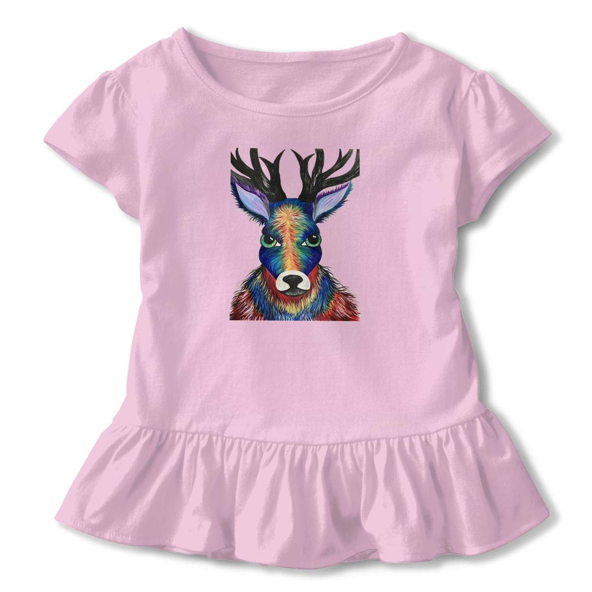 Colorful-Deer Toddler Baby Girls Short Sleeve ONeck Basic Shirts with Printed Designs in Front for School Birthday Party Gifts Ruffles Top Pink