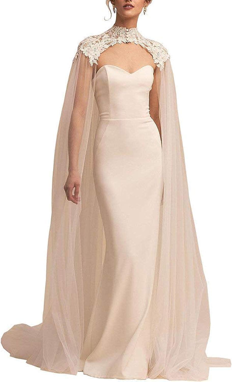 White Lace Tulle Long High Neck Wedding Bridal Wraps Cape Cloak Veils Ivory One Size At Amazon Women S Clothing Store