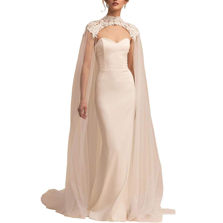 White Lace Tulle Long High Neck Wedding Bridal Wraps Cape Cloak Veils (White, One size)