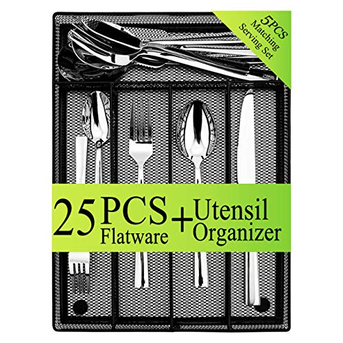 25-Piece Silverware Serving Set, HaWare Stainless Steel Modern Elegant Flatware Cutlery, Additional Black Drawer Organizer/Tray/Holder, Mirror Polished & Dishwasher Safe