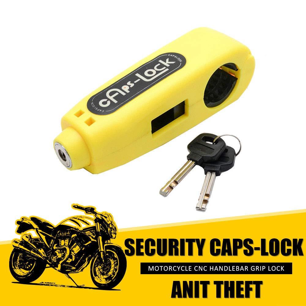 Yellow MASO Motorbike Motorcycle Handlebar Throttle Grip Lock Anti-theft Brake Level Lock for Bike Scooter Moped ATV Motorcycle Brake Lock