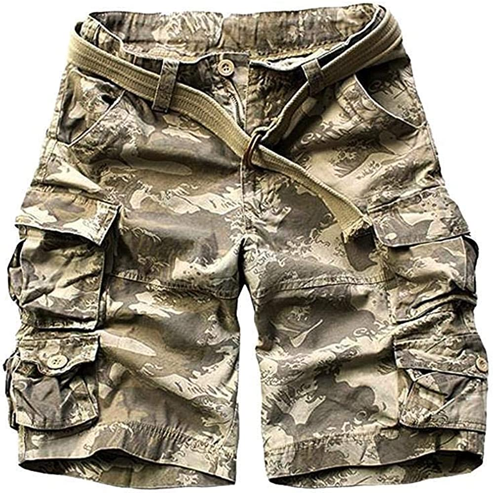 TRGPSG Men's Casual Camo Twill Ripstop Cargo Short Relaxed Fit Outdoor Hiking Chino Casual Shorts with 9 Pockets