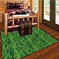 Floor mat,Green,Retro Spring AbstractIndoor/Outdoor Rubber Mat