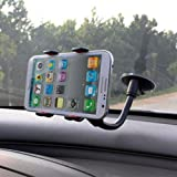 Universal Phone Holder for Car for iPhone 6, iPhone 6 Plus, iPod, iPhone 5/5s/5c, iPhone 4/4s Samsung Galaxy, Samsung S6 S5 S4 S3, Note 4 3, HTC One, Sony Xperia, Google Nexus, GPS, Sat Nav, PDA, or any Smartphone measuring up to 95mm in Width by KYWISS® (4 Points of Contact)