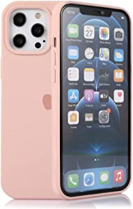 Assletes Silicone Case Compatible for iPhone 12 Pro Max, Soft Liquid Silicone Gel Rubber Bumper Cover, Slim Fit Full Body Protective Shockproof iPhone 12 Pro Max Case - Pink Sand