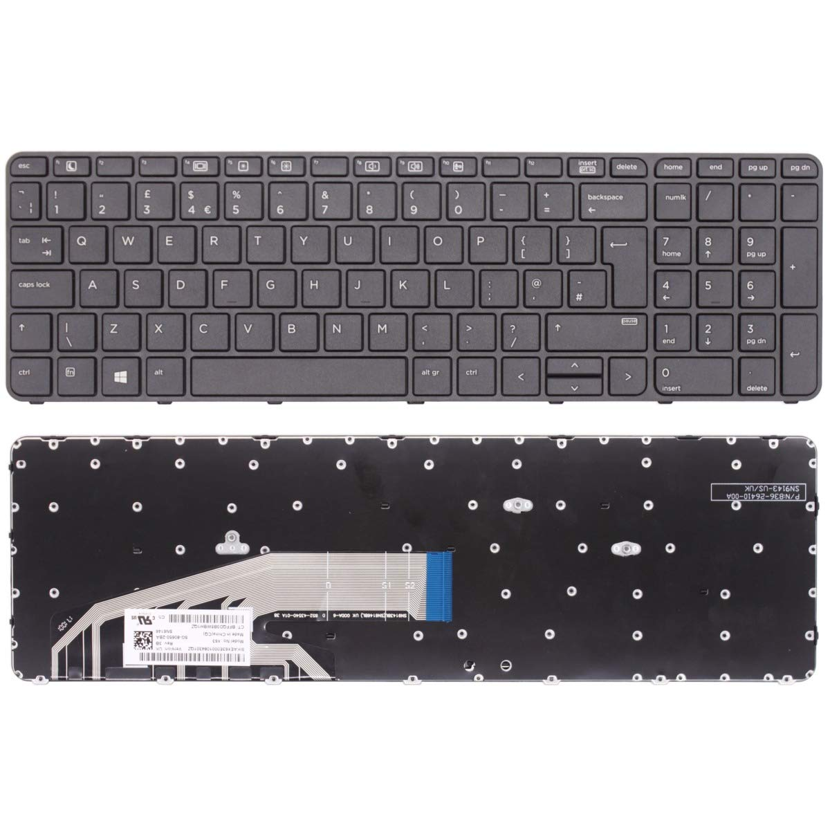 836-26410-00A 841136-B31 New Laptop Keyboard Replacement For HP ProBook 450 G3 455 G3 470 G3 UK Layout English Keyboard QWERY SG-80650-2BA 827029-031 Non Backlit with Frame UK Quick Dispatch