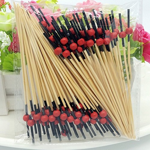 Kangkang@ 100 PCS Disposable Bamboo Beads Style Fruit Snack Dessert Cocktail Fork Set Party Home Household Decor Tableware (Ware Table)