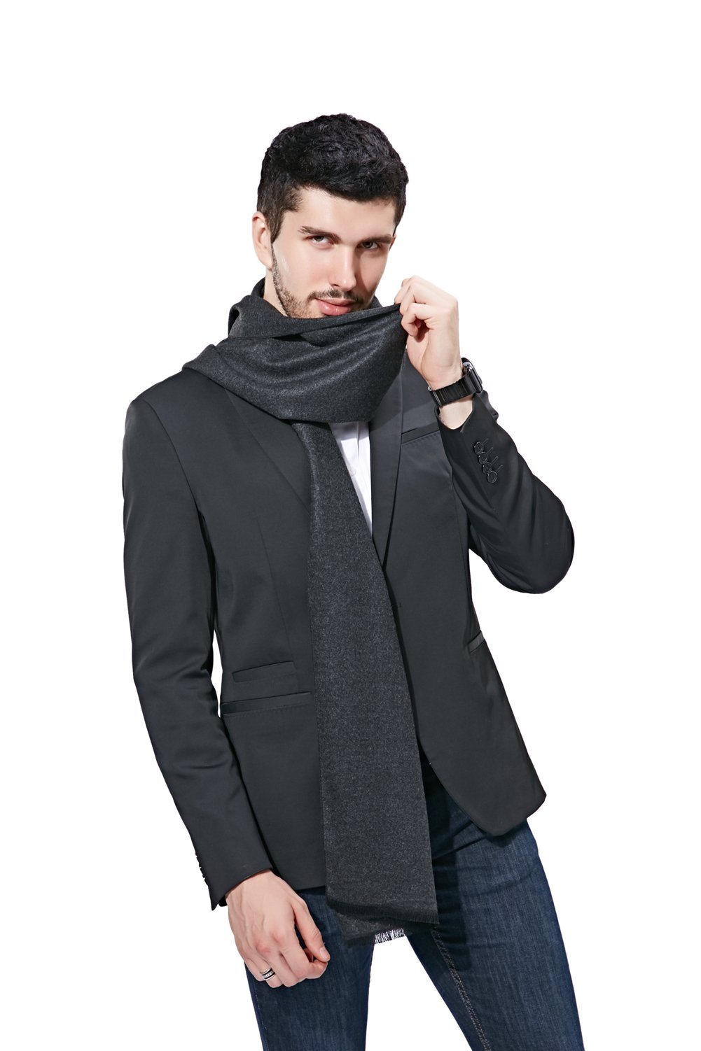 FULLRON Men Winter Scarf Long Cashmere Scarves, Grey Cotton Scarf for Men by FULLRON (Image #3)