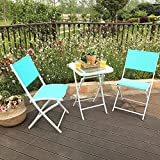PHI VILLA 3 PC Textilene Portable Foldable Patio Chairs and Table Set, 2 Chairs & 1 Table, Turquiose
