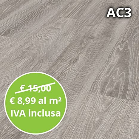 Pavimento in Laminato Rovere Grigio Confezione Da 2.47 Mq | AC3 ...