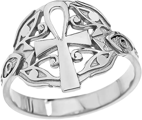 925 Silver Ankh Jewelry Key of Life Ring Sterling Silver Egyptian Cross Ankh Ring Protection Ring