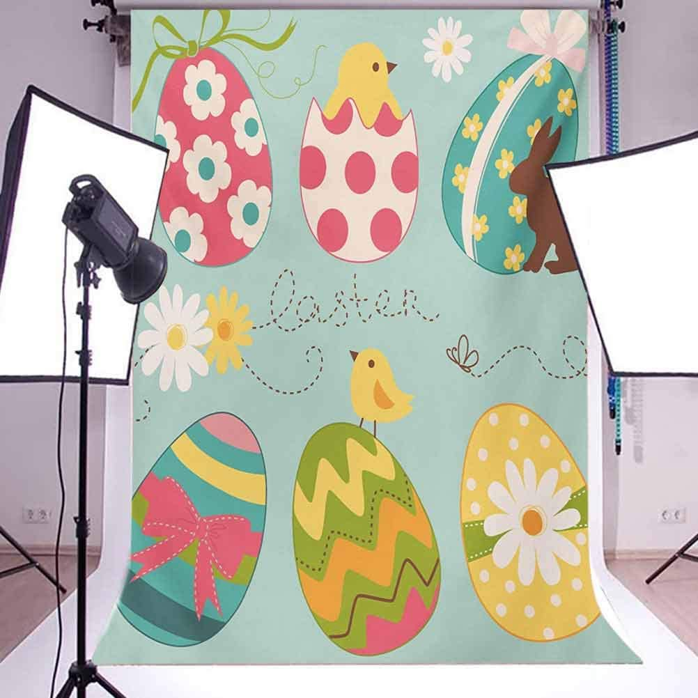 Easter Eggs with Flowers Zigzags Lines and Polka Dots Pattern Colorful Arrangement Background for Baby Shower Bridal Wedding Studio Photography Pictures Multicol Easter 10x12 FT Photography Backdrop