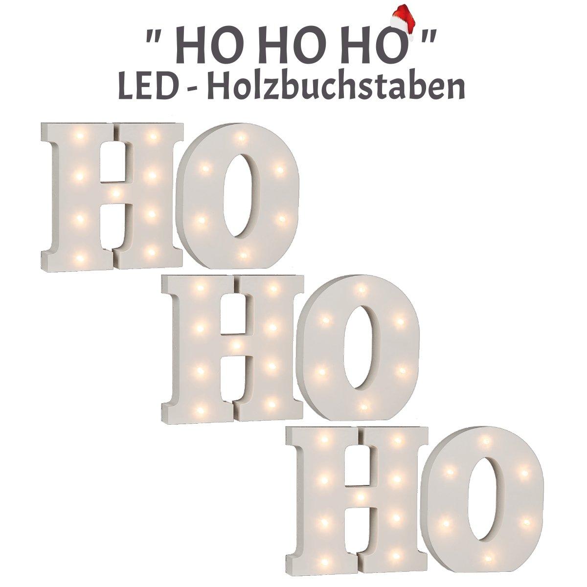 schenken-24 Beleuchteter Schriftzug / \'Ho Ho Ho\' / 6-teilig/LED ...