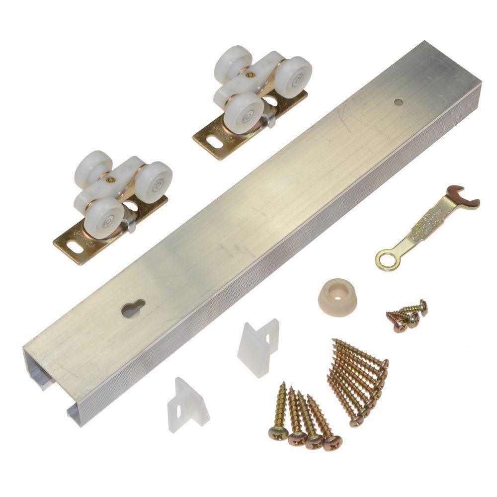 L E Johnson 100721DR 72'' HD Aluminum Single Pocket Door Track Hardware Kits- Quantity 10