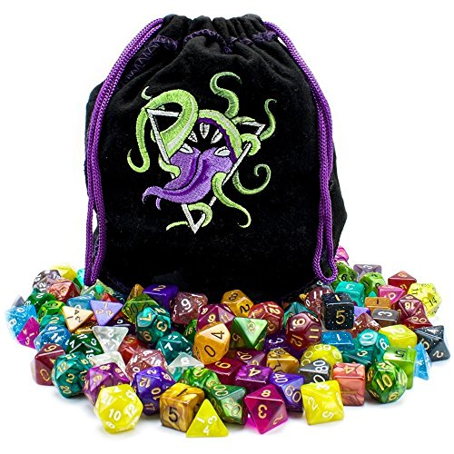 Polyhedral Dice Case, 140pc Bag Of Devouring Tabletop Pack Assorted Rpg Dice by By-Wiz Dice