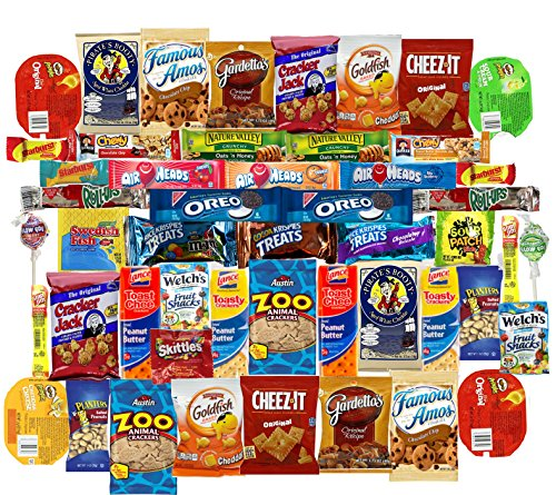 Mega Snacks (50 Count) Variety Care Package Gift Box - College Students, Military, Work or Home - Over 3 Pounds of Snacks! Sour Cream Cookies Christmas