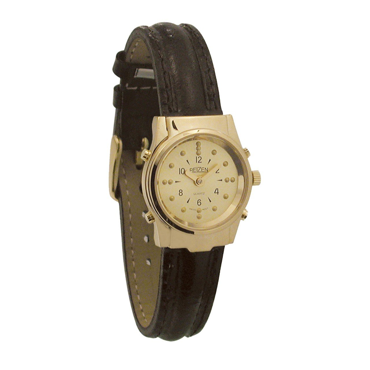 Ladies Gold-Tone Braille and Talking Watch - Leather Band
