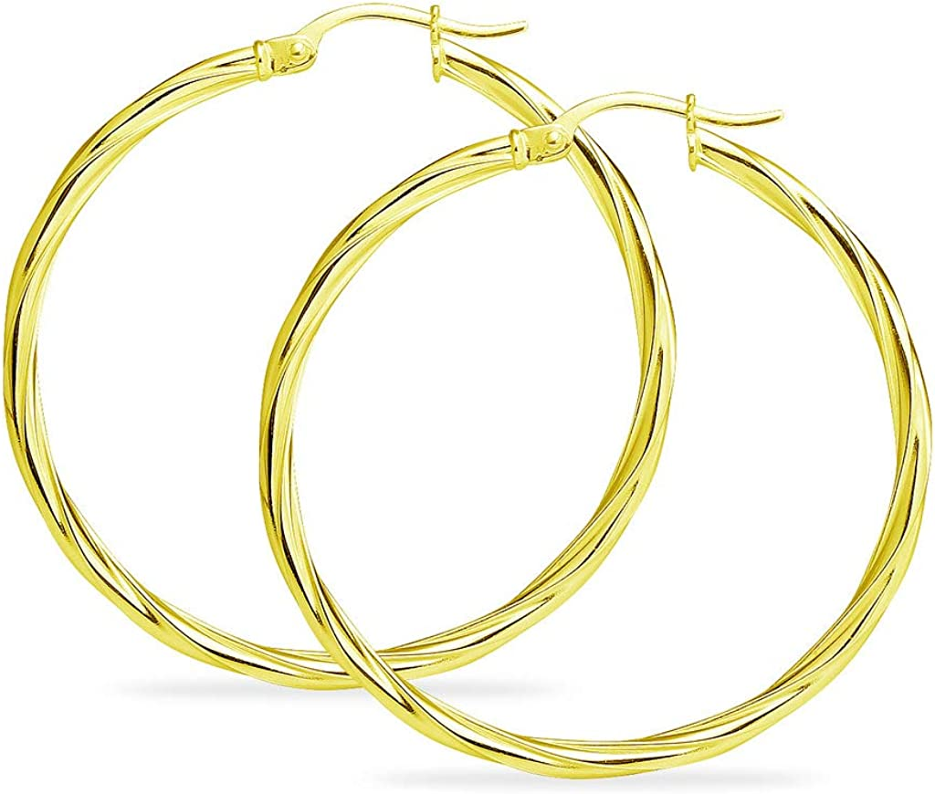 Yellow Gold Flashed Sterling Silver High Polished Twisted Rope Click-Top Hoop Earrings for Women /& Teen Girls All Sizes 15mm-60mm