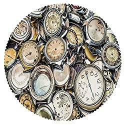 iPrint Round Tablecloth [ Clock Decor,Antique Theme A Pile of Several Vintage Clocks Retro Pattern Decorative Design,Gold Beige ] Fabric Home Tablecloth Design