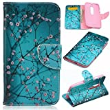 Moto G 3rd Gen Case,Gift_Source [Blue Flower] [Wallet Function] [Stand Feature] Magnetic Snap Case Wallet Premium Wallet Case Flip Case Cover for Motorola Moto G3 (3rd Generation)