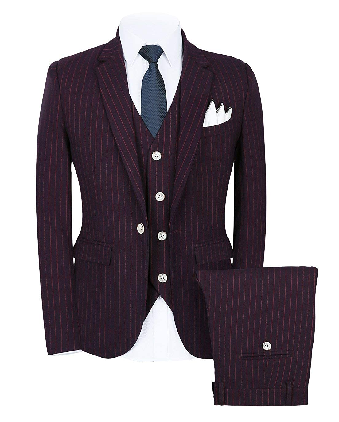YYI Mens Stripe Suit 3 Pieces Wedding Formal Tuxedo Notch Lapel Jacket /& Trousers /& Waistcoat