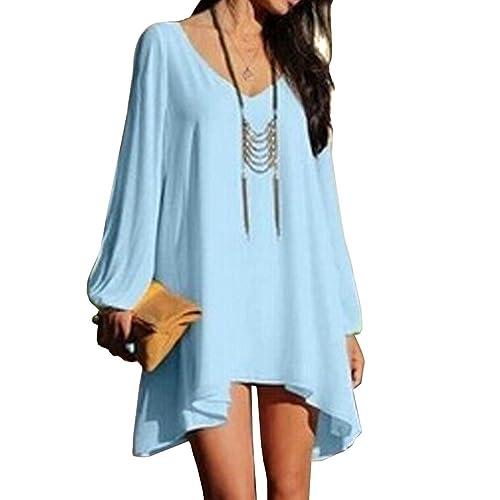 Women's Long Batwing Sleeve Mini V-Neck Irregular Hem Casual Loose Chiffon Dress