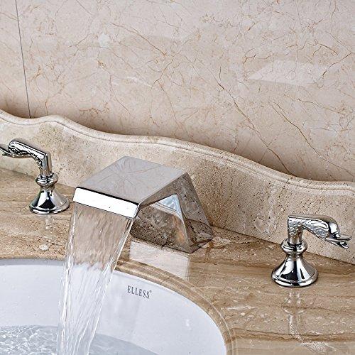 5151buyworld Top Qualität Wasserhahn helles Chrom Wasserfall Auslauf Wasserhahn zWeißGriffe breitgefächert Einhebelmischer, Deck mountedfor Badezimmer Küche Home Gaden (begriffsklärung), chrom,
