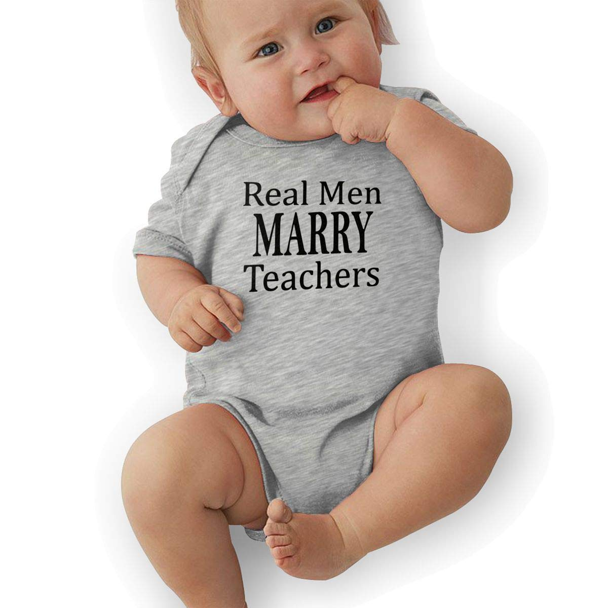 Short Sleeve Cotton Bodysuit for Unisex Baby Soft Real Men Marry Teachers Onesies