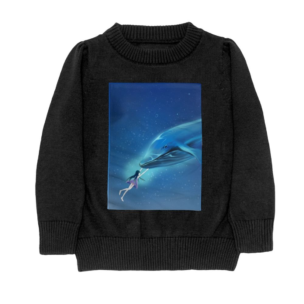 DTMN7 Girl and Whale Teens Sweater Long Sleeves Crew-Neck Youth Athletic Casual Tee Junior Boys