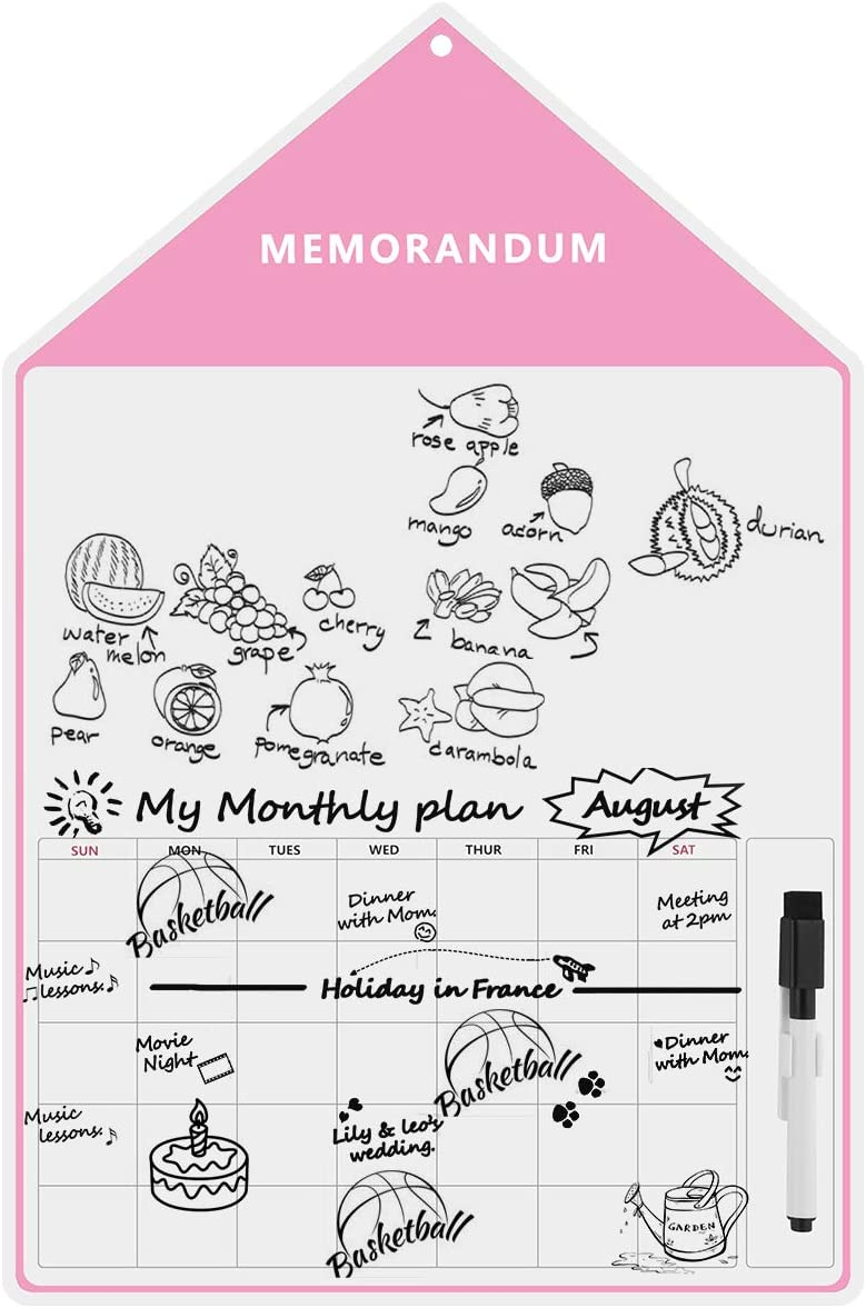 Eurobuy Refrigerator Message Board,Small House Shaped Magnetic Dry Erase Whiteboard Sheet for Kitchen Fridge-with Stain Resistant Technology Monthly Calendar Home Office Refrigerator Message Board