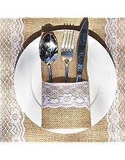 Awtlife 60 paquetes de Navidad de arpillera de encaje para utensilios de cocina, cubiertos y tenedores, bolsa para bodas vintage