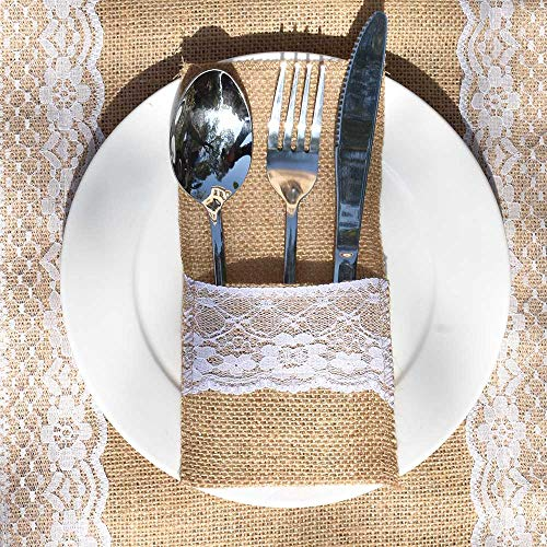 Awtlife 60 Packs Xmas Burlap Lace Utensil Holders Silverware Cutlery Pouch Knifes Forks Bag for Vintage Wedding -