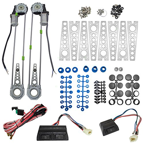 Universal Electric Power Window Lift Regulator Roll Up Spal Type Conversion Kit w/Switches Wiring & Hardware for 2-Door Pickup SUV Van Car
