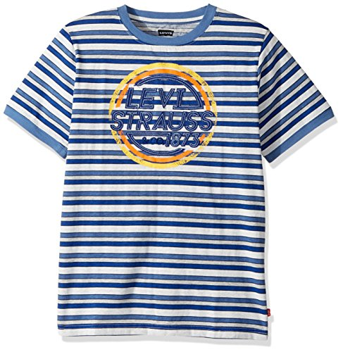 Levi's Big Boys' Graphic Ringer T-Shirt, Dutch Blue/Grey Heather, L