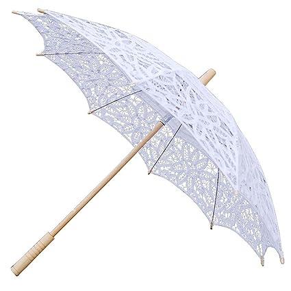 Leo565Tom Paraguas de encaje Parasol de la boda 48 cm Manual Crochet Lace Parasol Danza Fotografía