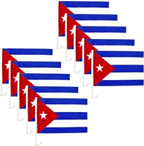 Fokhfv 12x18 Inch Double Sided Cuban Flag for Car Mirror,Cuba Libre Cuban National Flags with Brass Grommets,Vivid Color and Fade Proof,for Car Window Clip- for Car Hanging- Cuban Flag with Pole