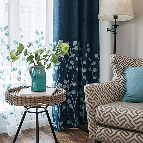 Melodieux Plant Embroidery Faux Linen Window Blackout Noise-Free Grommet Top Curtains for Patio 100 by 84 Inch Navy/Blue 1 Panel