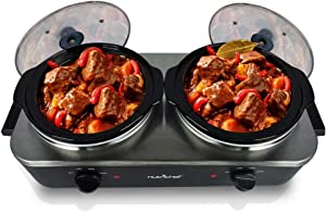 Electric Slow Cooker - Crock Pot Food Warmer, Food Warming Soup Cooker Tray Portable Extra Large 5.3 Quart Easy Clean Stainless Steel, for Parties & Events, Max Temp 175F (PKBFWM26)