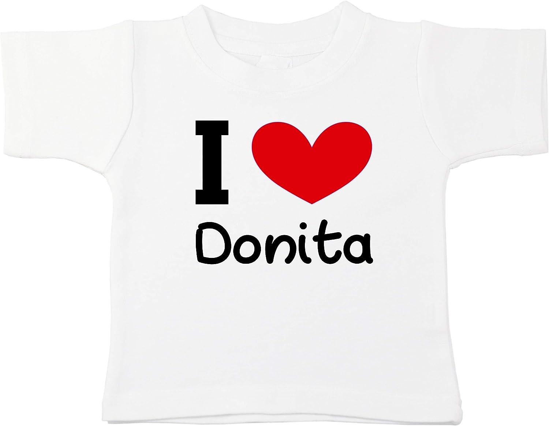 Kinacle I Love Donita Personalized Baby//Toddler T-Shirt
