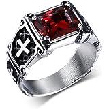 UOKOHO Titanium and Stainless Steel Great AAA Ruby Gemstone Cross Rings Size 7-14