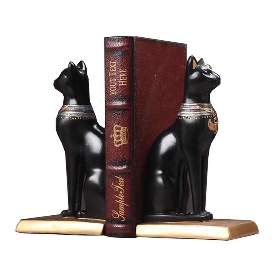 C & S Bookends Decorative, Ancient Egyptian Bastet Cat Goddess Book Ends Home Office Library School, Statue Resin Black, 1 Pair