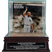 Steiner Sports MLB New York Yankees Mariano Rivera Tip Cap Background Glass Single Baseball with Yankee Stadium Authentic Dirt and Nameplate