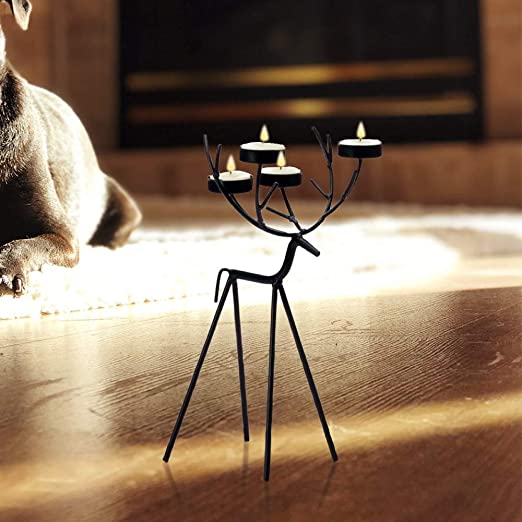 New Stunning Festive Stag Tea Light Holder Holds 3 Tea Lights